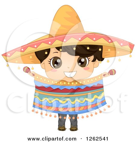 Clipart of a Cute Hispanic Boy in a Traditional Mexican Costume - Royalty Free Vector Illustration by BNP Design Studio