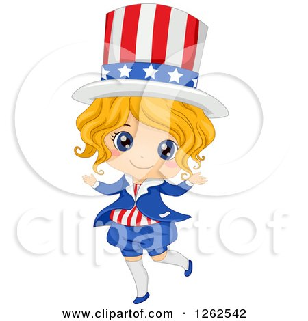 Clipart of a Cute Blond White Girl in an American Uncle Sam Costume - Royalty Free Vector Illustration by BNP Design Studio