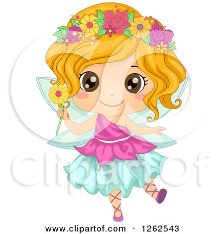 Clipart of a Cute Girl in a Floral Fairy Costume - Royalty Free Vector Illustration by BNP Design Studio