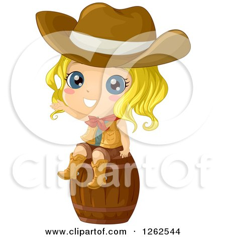 Clipart of a Cute Blond Cowgirl Waving on a Barrel - Royalty Free Vector Illustration by BNP Design Studio
