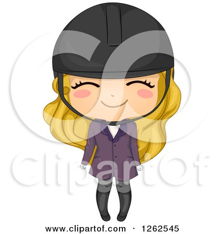 Clipart of a Cute Blond Caucasian Girl in Equestrian Apparel - Royalty Free Vector Illustration by BNP Design Studio