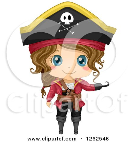 Clipart of a Cute Girl Posing in a Pirate Costume - Royalty Free Vector Illustration by BNP Design Studio