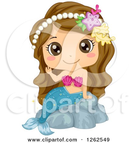 Cute Brunette White Girl Waving in a Mermaid Costume Posters, Art Prints