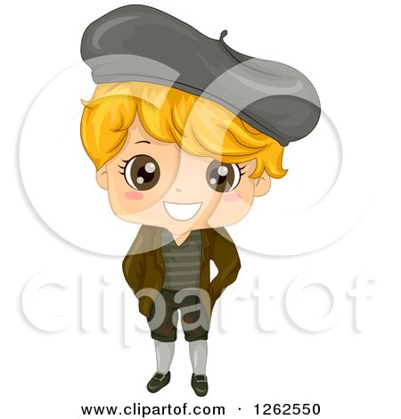 Clipart of a Cute Blond Boy in a Traditional French Costume - Royalty Free Vector Illustration by BNP Design Studio