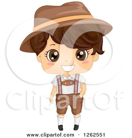 Clipart of a Cute Brunette Boy in a German Costume - Royalty Free Vector Illustration by BNP Design Studio