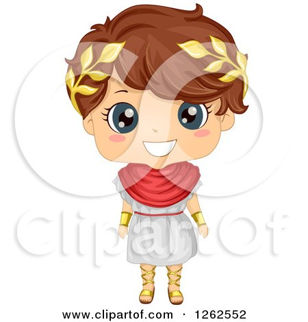 Clipart of a Cute Boy in a Roman Costume - Royalty Free Vector Illustration by BNP Design Studio