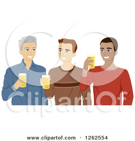 Clipart of Three Men, Young and Middle Aged, Drinking Beer - Royalty Free Vector Illustration by BNP Design Studio