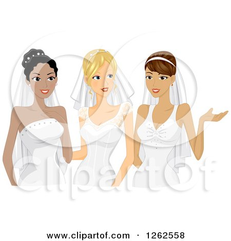 Clipart of Three Young Brides in Their Gowns - Royalty Free Vector Illustration by BNP Design Studio