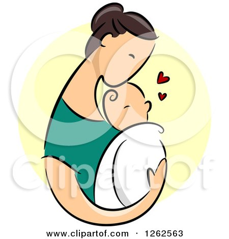 Clipart of a Brunette Caucasian Mother Holding Her Baby over a Yellow Circle - Royalty Free Vector Illustration by BNP Design Studio