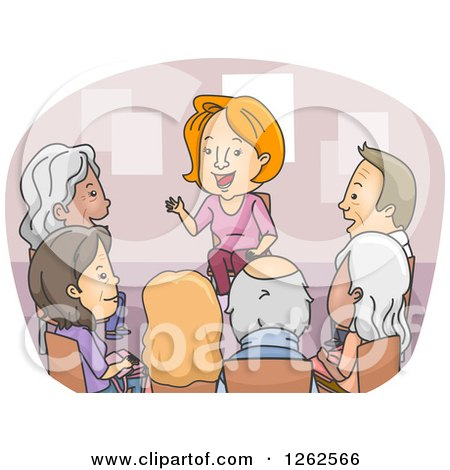Clipart of a Circle of Seniors in a Support Counseling Group - Royalty Free Vector Illustration by BNP Design Studio