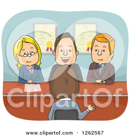 Clipart of a Group of People Questioning a Man in an Interview - Royalty Free Vector Illustration by BNP Design Studio
