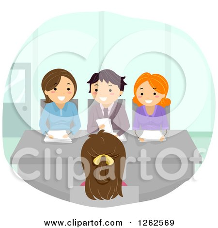 Clipart of a Woman Being Interviewed for a Job - Royalty Free Vector Illustration by BNP Design Studio