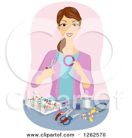 Clipart Of A Brunette White Woman Making Beaded Jewelry
