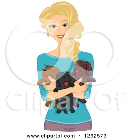 Clipart of a Happy Blond Caucasian Woman Holding Puppies - Royalty Free Vector Illustration by BNP Design Studio