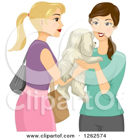 Clipart of a Blond White Woman Handing Her Dog over to a Pet Sitter - Royalty Free Vector Illustration by BNP Design Studio