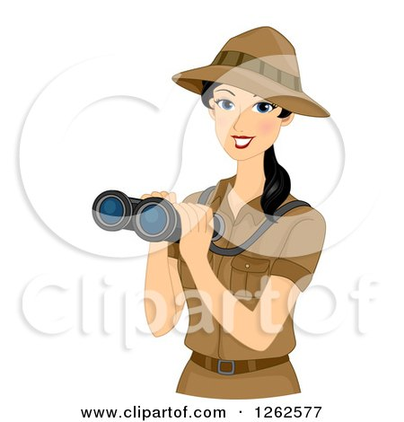 Clipart of a Happy Young Safari Woman Holding Binoculars - Royalty Free Vector Illustration by BNP Design Studio