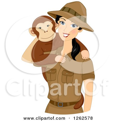 Clipart of a Happy Young Safari Woman with a Monkey on Her Shoulder - Royalty Free Vector Illustration by BNP Design Studio