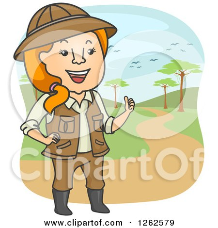 Clipart of a Happy Red Haired Safari Tour Woman - Royalty Free Vector Illustration by BNP Design Studio