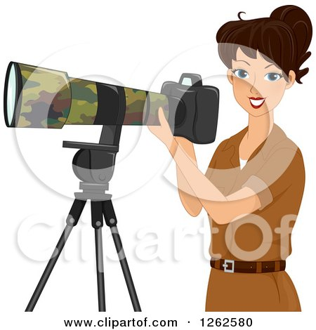Clipart of a Brunette Caucasian Woman Taking Safari Photographs with a Camera - Royalty Free Vector Illustration by BNP Design Studio