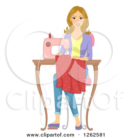 Blond Caucasian Woman Sewing a Dress Posters, Art Prints