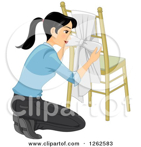 Clipart of a Woman Kneeling and Tying a Knot to a Chair - Royalty Free Vector Illustration by BNP Design Studio