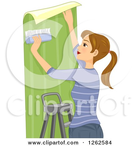 Clipart of a Dirty Blond Caucasian Woman Hanging Wallpaper - Royalty Free Vector Illustration by BNP Design Studio