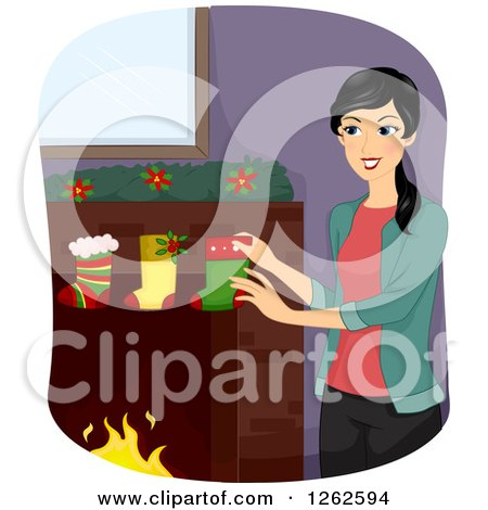 Clipart of a Happy Woman Hanging Christmas Stockings on a Hearth - Royalty Free Vector Illustration by BNP Design Studio