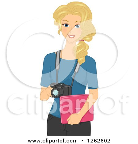 Clipart of a Blond White Woman Photographer Holding a Laptop and Camera - Royalty Free Vector Illustration by BNP Design Studio