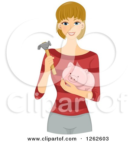 Clipart of a Happy Blond White Woman Holding a Hammer and Piggy Bank - Royalty Free Vector Illustration by BNP Design Studio