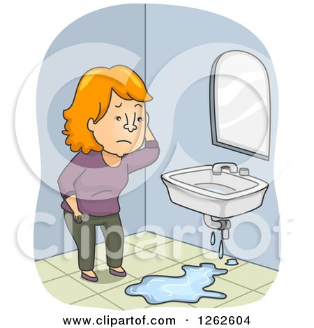 Clipart of a Red Haired White Woman Discovering a Leaky Sink in Her Bathroom - Royalty Free Vector Illustration by BNP Design Studio