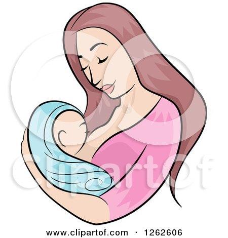 Brunette White Mother Breastfeeding Her Newborn Baby Posters, Art Prints