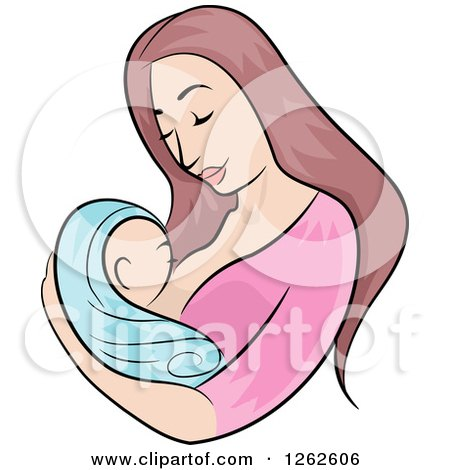 Clipart of a Brunette White Mother Breastfeeding Her Newborn Baby - Royalty Free Vector Illustration by BNP Design Studio