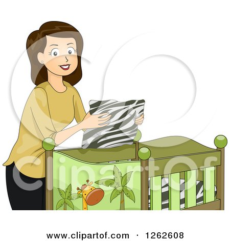 Clipart of a Brunette Caucasian Woman Putting Zebra Sheets in a Baby Safari Crib - Royalty Free Vector Illustration by BNP Design Studio