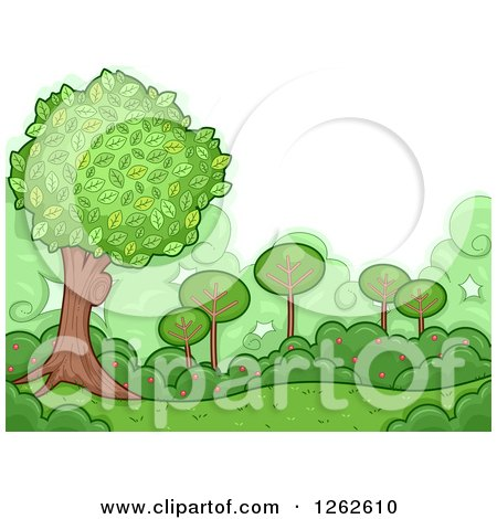 Clipart of a Backdrop of Green Shrubs and Trees - Royalty Free Vector Illustration by BNP Design Studio