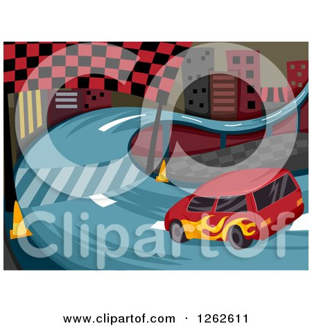 Clipart of a Race Car on a Curvy City Track - Royalty Free Vector Illustration by BNP Design Studio