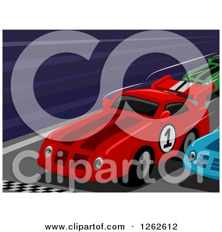 Clipart of Race Cars at a Finish Line - Royalty Free Vector Illustration by BNP Design Studio
