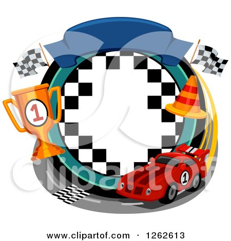 Clipart of a Car Racing Frame - Royalty Free Vector Illustration by BNP Design Studio