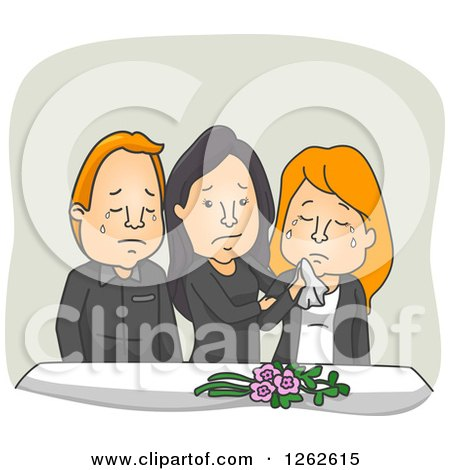 Clipart of Weeping People at a Funeral - Royalty Free Vector Illustration by BNP Design Studio