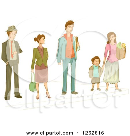 Clipart of People Waiting on a Sidewalk - Royalty Free Vector Illustration by BNP Design Studio