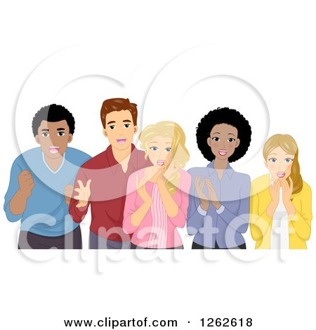 Clipart of a Group of Shocked People - Royalty Free Vector Illustration by BNP Design Studio