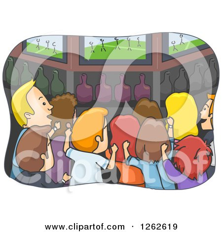 Clipart of a Rear View of Sports Fans Cheering at a Pub - Royalty Free Vector Illustration by BNP Design Studio