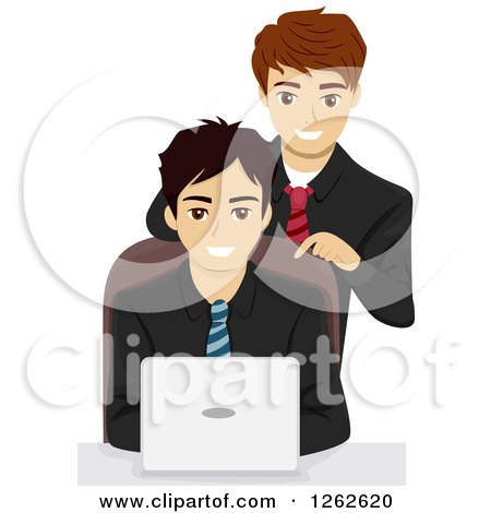 Clipart of a Boss Leaning over His Employee As He Uses a Laptop - Royalty Free Vector Illustration by BNP Design Studio