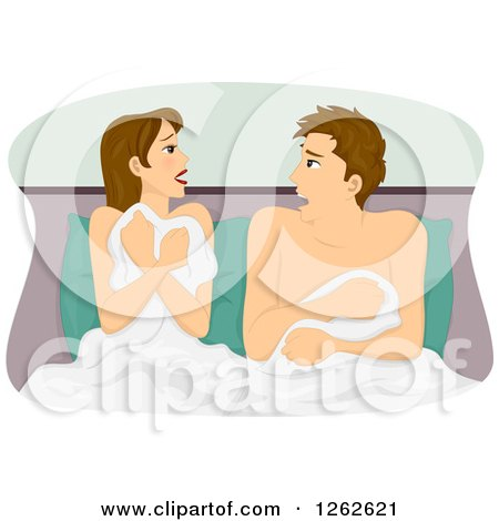 Clipart of a Shocked Man and Woman Waking up After a One Night Stand - Royalty Free Vector Illustration by BNP Design Studio