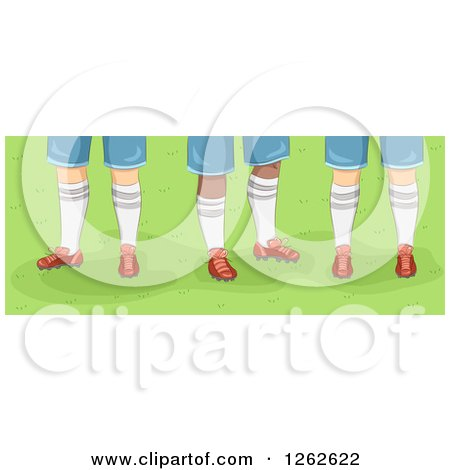 Clipart of Feet of Male Rugby Players on Grass - Royalty Free Vector Illustration by BNP Design Studio