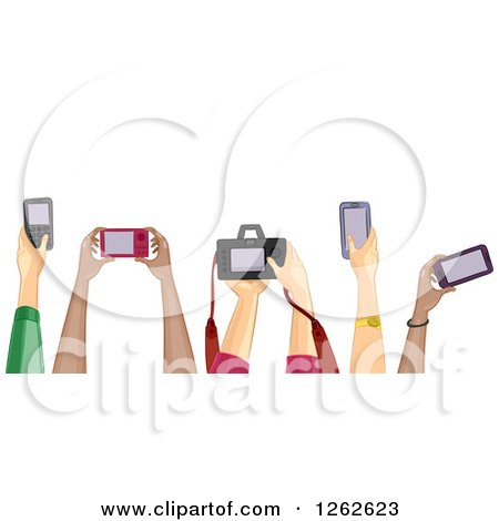 Clipart of Diverse Hands Holding Cameras - Royalty Free Vector Illustration by BNP Design Studio