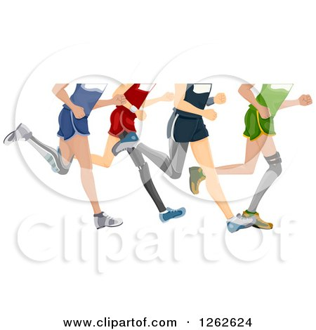 Clipart of Legs of Runners with Prosthetics - Royalty Free Vector Illustration by BNP Design Studio