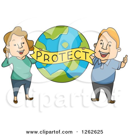 Cartoon Of A Sad Polluted Earth Crying Royalty Free