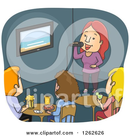 Clipart of a Woman Skinging Karaoke at a Bar - Royalty Free Vector Illustration by BNP Design Studio