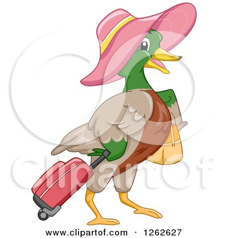 Clipart of a Mallard Duck Wearing a Hat and Pulling Luggage - Royalty Free Vector Illustration by BNP Design Studio