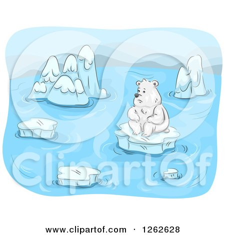 Clipart of a Lonely Polar Bear Surrounded by Melting Ice Floes - Royalty Free Vector Illustration by BNP Design Studio